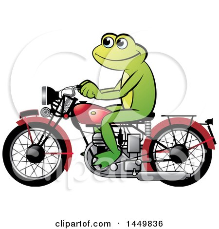 Clipart Graphic of a Happy Frog Riding a Red Motorcycle - Royalty Free Vector Illustration by Lal Perera
