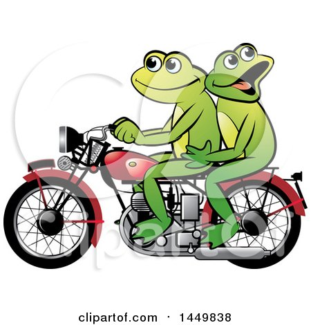Clipart Graphic of a Happy Frog Couple Riding a Red Motorcycle - Royalty Free Vector Illustration by Lal Perera