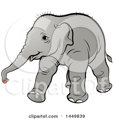 Clipart Graphic of a Walking Baby Elephant - Royalty Free Vector Illustration by Lal Perera