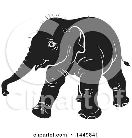 Clipart Graphic of a Black and White Walking Baby Elephant - Royalty Free Vector Illustration by Lal Perera