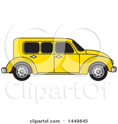 Clipart Graphic of a Vintage Yellow Car - Royalty Free Vector Illustration by Lal Perera