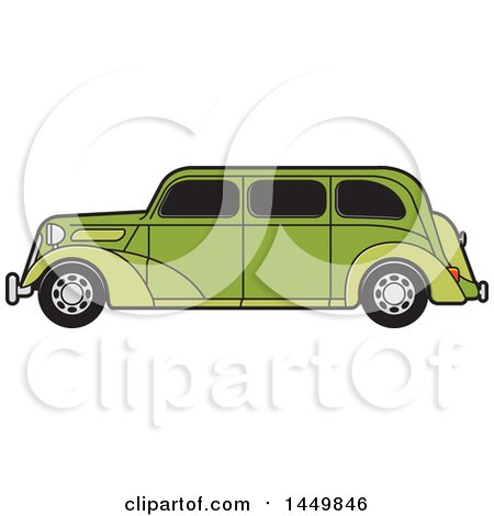 Clipart Graphic of a Vintage Green Car - Royalty Free Vector Illustration by Lal Perera