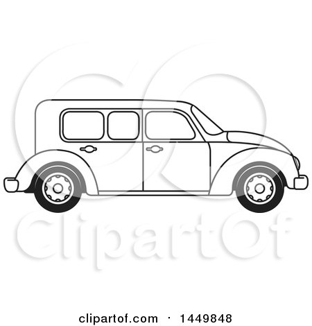 Clipart Graphic of a Black and White Vintage Car - Royalty Free Vector Illustration by Lal Perera