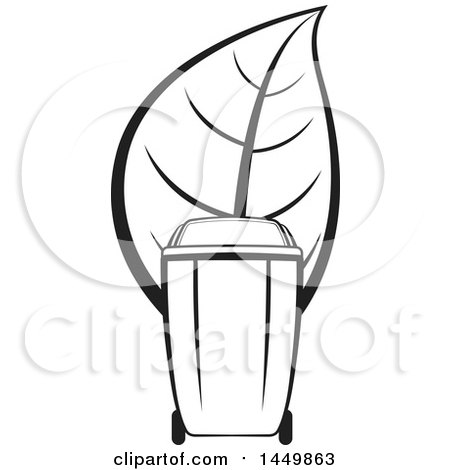 Clipart Graphic of a Black and White Yard Debris Trash Bin with a Leaf - Royalty Free Vector Illustration by Lal Perera