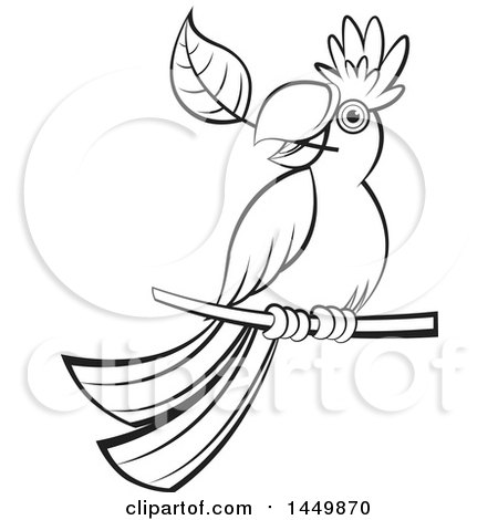 Clipart Graphic of a Black and White Perched Parrot with a Leaf in His Mouth - Royalty Free Vector Illustration by Lal Perera