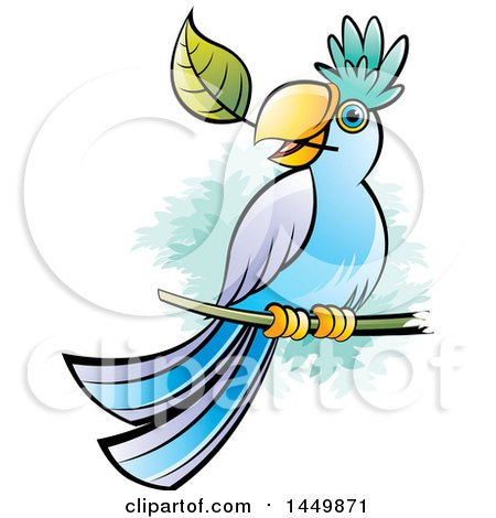 Clipart Graphic of a Perched Parrot with a Leaf in His Mouth - Royalty Free Vector Illustration by Lal Perera