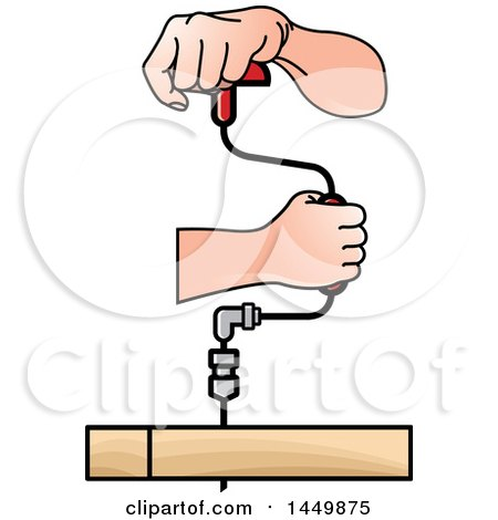 Clipart Graphic of a Pair of Hands Using a Rachet Brace Drill - Royalty Free Vector Illustration by Lal Perera