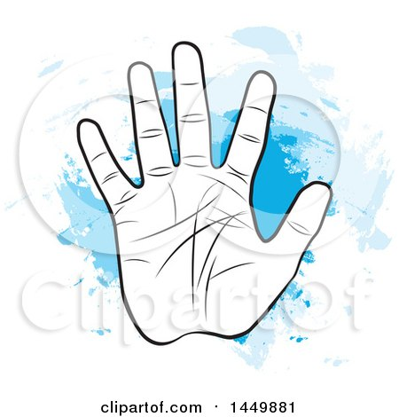 Clipart Graphic of a Black and White Hand with Palm Lines over Blue Watercolor - Royalty Free Vector Illustration by Lal Perera