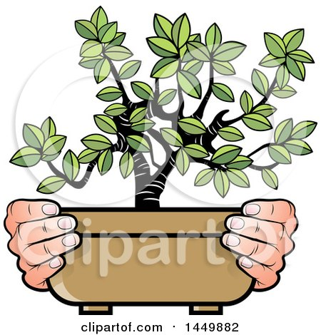 Clipart Graphic of a Pair of Hands Holding a Bonsai Plant - Royalty Free Vector Illustration by Lal Perera