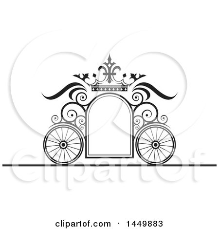Clipart Graphic of a Black and White Wedding Carriage Frame - Royalty Free Vector Illustration by Lal Perera