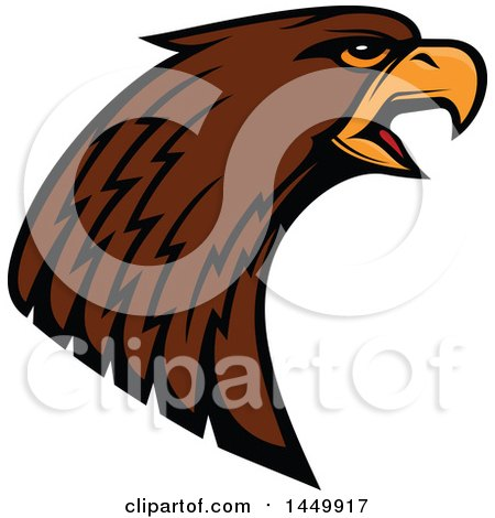 Clipart Graphic of a Profiled Brown Eagle Mascot Head - Royalty Free Vector Illustration by Vector Tradition SM