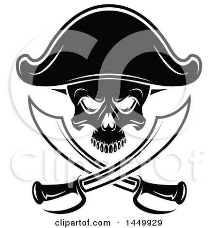 Clipart Graphic of a Black and White Pirate Skull and Crossed Swirds - Royalty Free Vector Illustration by Vector Tradition SM