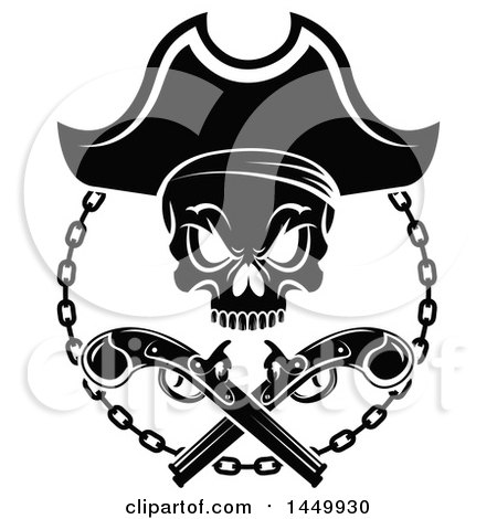 Clipart Graphic of a Black and White Pirate Skull and Crossed Guns - Royalty Free Vector Illustration by Vector Tradition SM