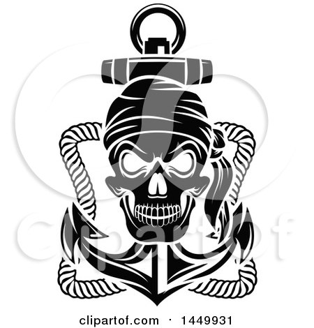 Clipart Graphic of a Black and White Pirate Skull and Anchor - Royalty Free Vector Illustration by Vector Tradition SM