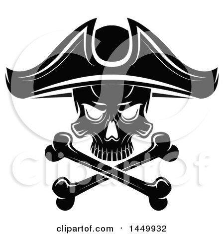 Clipart Graphic of a Black and White Pirate Skull and Crossbones - Royalty Free Vector Illustration by Vector Tradition SM