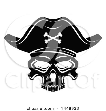 Clipart Graphic of a Black and White Pirate Skull - Royalty Free Vector Illustration by Vector Tradition SM