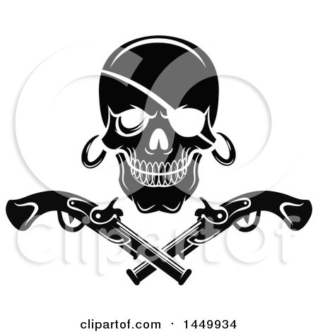Clipart Graphic of a Black and White Pirate Skull and Crossed Pistols - Royalty Free Vector Illustration by Vector Tradition SM