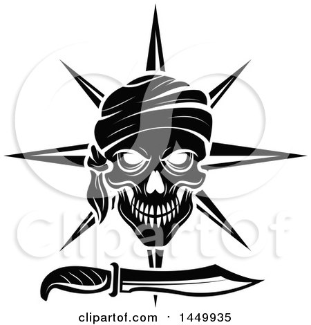 Clipart Graphic of a Black and White Pirate Skull and Daggar - Royalty Free Vector Illustration by Vector Tradition SM