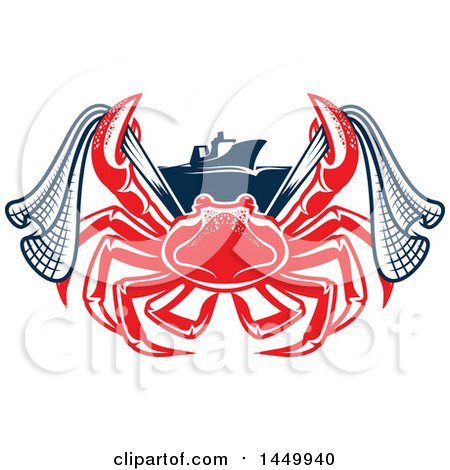 Clipart Graphic of a Red Crab with Netting and a Boat - Royalty Free Vector Illustration by Vector Tradition SM