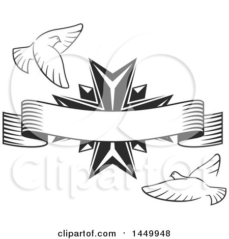 Clipart Graphic of a Black and White Easter Cross with Doves with a Banner - Royalty Free Vector Illustration by Vector Tradition SM