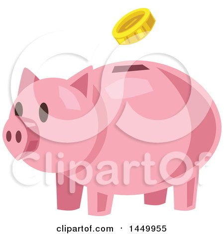 Clipart Graphic of a Coin Depositing into a Piggy Bank - Royalty Free Vector Illustration by Vector Tradition SM