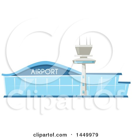 Clipart Graphic of a Blue Glass Airport Building and Tower - Royalty Free Vector Illustration by Vector Tradition SM