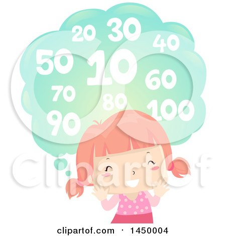 Clipart Graphic of a Happy Red Haired White Girl Counting by Ten - Royalty Free Vector Illustration by BNP Design Studio