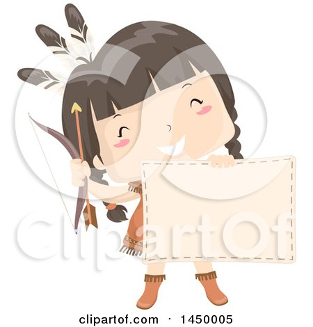 Clipart Graphic of a Happy Native American Indian Girl Holding a Bow, Arrow and Blank Sign - Royalty Free Vector Illustration by BNP Design Studio