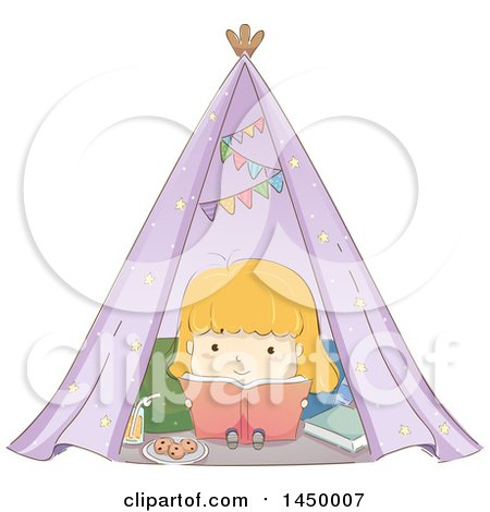 Clipart Graphic of a Sketched Blond White Girl Reading a Book in a Tent - Royalty Free Vector Illustration by BNP Design Studio