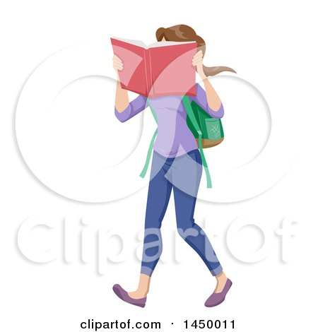 Clipart Graphic Of A White Teen Girl With Hrer Face In A Book While Walking To School Royalty Free Vector Illustration
