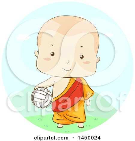 Clipart Graphic of a Sketched Monk Boy Holding a Volleyball - Royalty Free Vector Illustration by BNP Design Studio