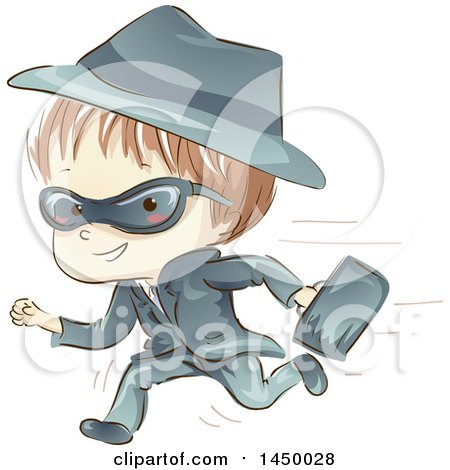 Clipart Graphic of a Sketched White Spy Boy Running with a Briefcase - Royalty Free Vector Illustration by BNP Design Studio