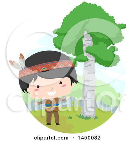 Clipart Graphic of a Happy Native American Indian Boy by a Birch Tree - Royalty Free Vector Illustration by BNP Design Studio