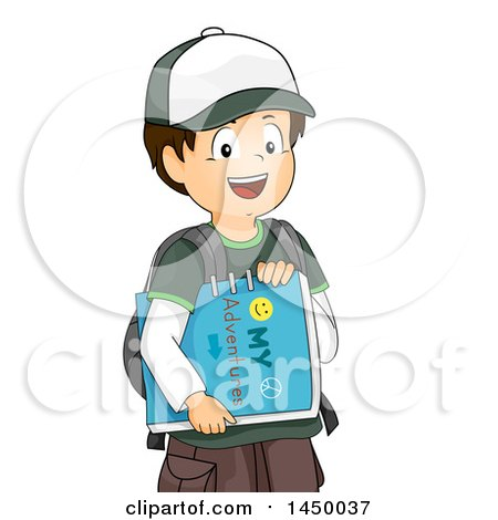 Clipart Graphic of a Happy Brunette White Boy Carrying an Adventure Book - Royalty Free Vector Illustration by BNP Design Studio