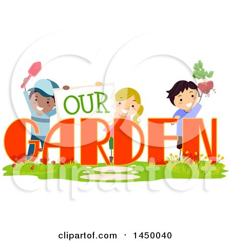 Group of Children Playing with Our Garden Text Posters, Art Prints