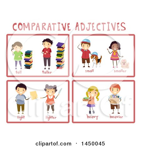 Clipart Graphic of Educational Comparative Adjective Flash Cards - Royalty Free Vector Illustration by BNP Design Studio