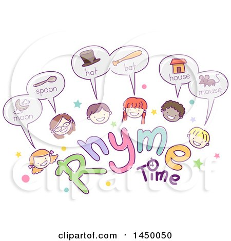 Clipart Graphic of a Sketched Group of Children with Rhyme Time Text - Royalty Free Vector Illustration by BNP Design Studio