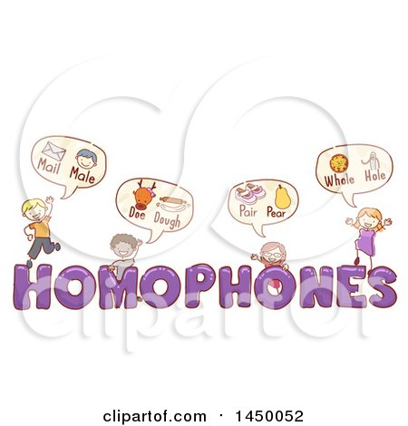 Clipart Graphic of a Sketched Group of Children with Homophones Text - Royalty Free Vector Illustration by BNP Design Studio