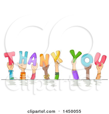 Clipart Graphic of a Group of Sketched Child Hands Holding up Letters and Spelling the Words Thank You - Royalty Free Vector Illustration by BNP Design Studio