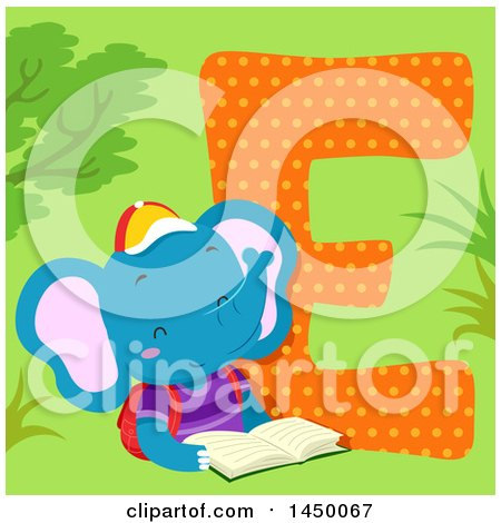 Clipart Graphic of a Cute Elephant with the Letter E - Royalty Free Vector Illustration by BNP Design Studio