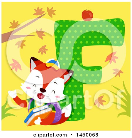 Clipart Graphic of a Cute Fox with the Letter F - Royalty Free Vector Illustration by BNP Design Studio