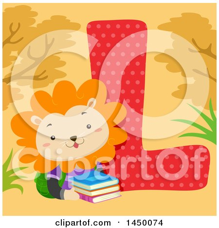 Clipart Graphic of a Cute Lion with the Letter L - Royalty Free Vector Illustration by BNP Design Studio