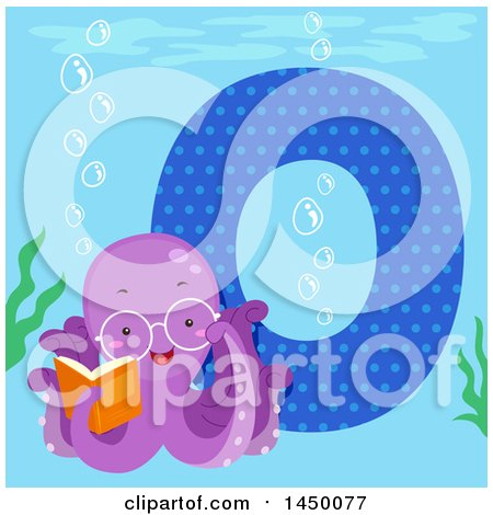 Clipart Graphic of a Cute Octopus with the Letter O - Royalty Free Vector Illustration by BNP Design Studio