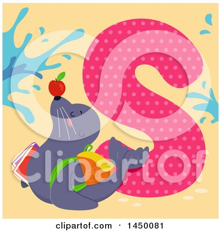 Clipart Graphic of a Cute Seal with the Letter S - Royalty Free Vector Illustration by BNP Design Studio