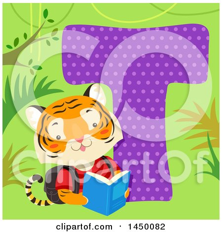 Clipart Graphic of a Cute Tiger with the Letter T - Royalty Free Vector Illustration by BNP Design Studio