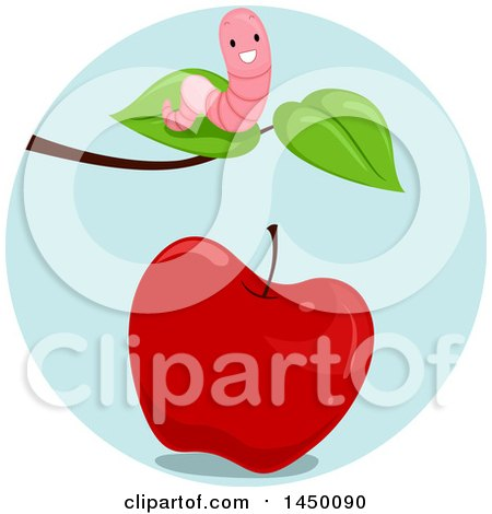 Clipart Graphic of a Happy Preposition Worm Above an Apple - Royalty Free Vector Illustration by BNP Design Studio