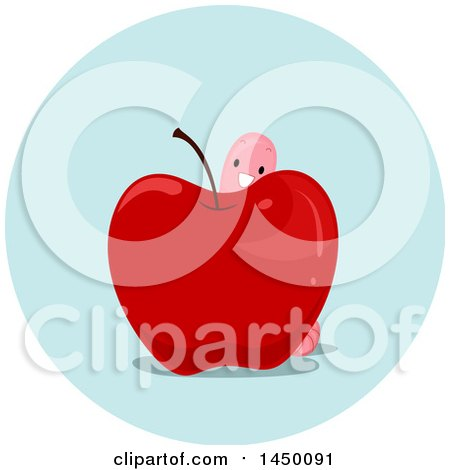 Clipart Graphic of a Happy Preposition Worm Behind an Apple - Royalty Free Vector Illustration by BNP Design Studio