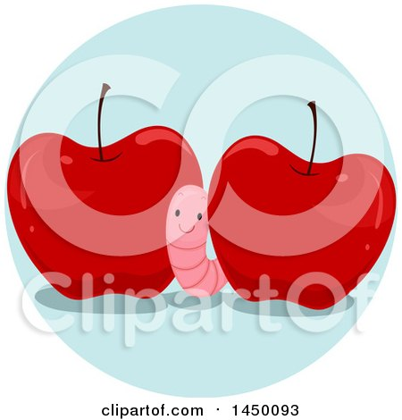 Clipart Graphic of a Happy Preposition Worm Between Apples - Royalty Free Vector Illustration by BNP Design Studio