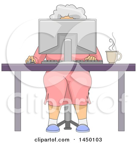Clipart Graphic Of A Happy White Haired Senior White Woman Sitting Behind A Computer At A Desk Royalty Free Vector Illustration