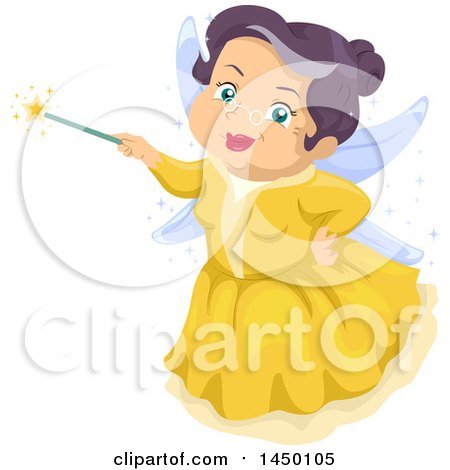 Clipart Graphic Of A Happy Senior White Fairy Godmother Holding A Magic Wand Royalty Free Vector Illustration